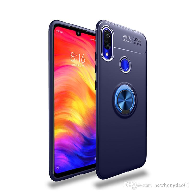 Manyetik Yüzük Standı Xiaomi Redmi Için Not 7 Lüks Tam Kapak Kılıf Darbeye Araç Telefonu Tutucu kılıf TOTTIDAY