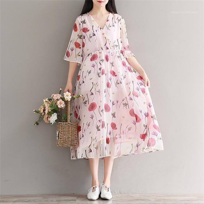 عارضة الملابس النسائية الصيف انن فساتين الزهور V الرقبة زهرة طباعة نصف كم أزياء نمط أنثى الملابس