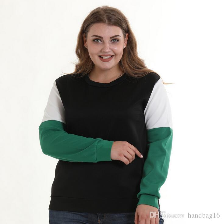 L-5XL Wholesale Womens Hoodies Sweatshirts Panelled Long sleeve spring autumn coat Pullover color fat Ladies Big Large Loose Tops Plus Size
