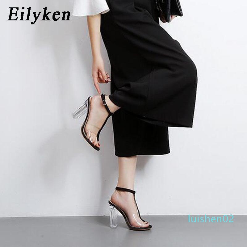Eilyken 2020 Donna Sandali nuovo PVC sexy trasparente libero cinturino alla caviglia Tacchi alti del partito delle donne dei sandali Formato dei pattini 35-42 L02