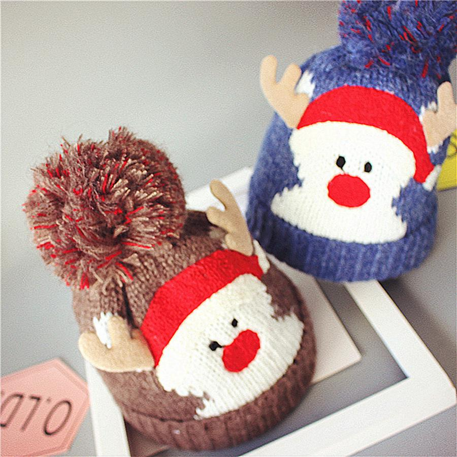 Christmas Child Knitting Hat Pom Beanie Kids Adult Deer Antler Xmas Crochet Knitted Ball Cap Party Gifts 5styles RRA2376