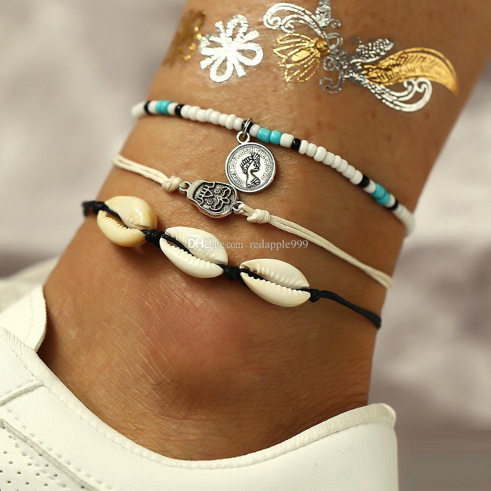 Женщины ретро стиль ножные браслеты раковина творческий Богемский головы печать оболочки скелет ноги цепи setl йога пляж браслеты оптом (1 компл.=3 шт.)