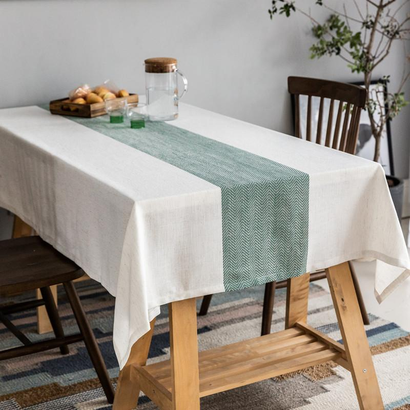 KITCHEN COTTON LINEN TABLECLOTH TEA CLOTH DINING TABLE COVER RECTANGLE PRINT UK
