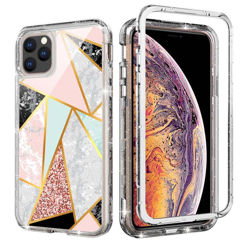 For Iphone 11 Case Luxury Marble Case 3in1 Heavy Duty Shockproof Full Body Protection Cover Phone Case For Iphone 11 Pro Max
