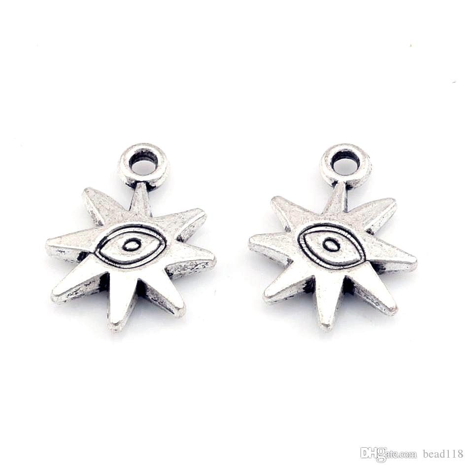 Hot ! 120pcs Antiqued Silver-finished Zinc-Based Alloy Double-Sided Sun With Eye charms Fit Pendants Necklace 19 X15mm DIY Jewelry