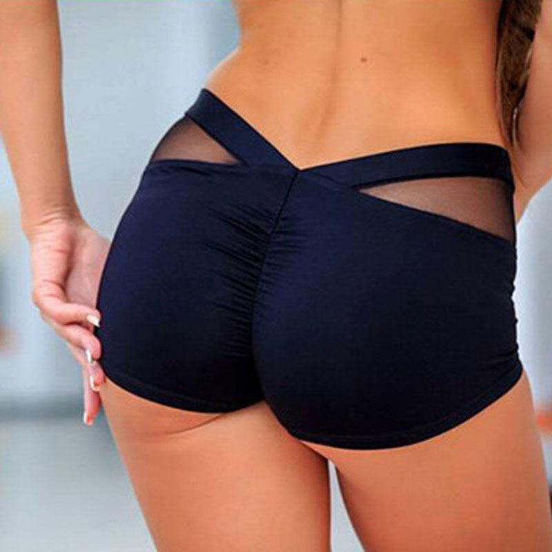 2019 Porter Backing Femmes Shorts Mesh Splicing Hip Lifting Mini Sport Yoga Hot Pants