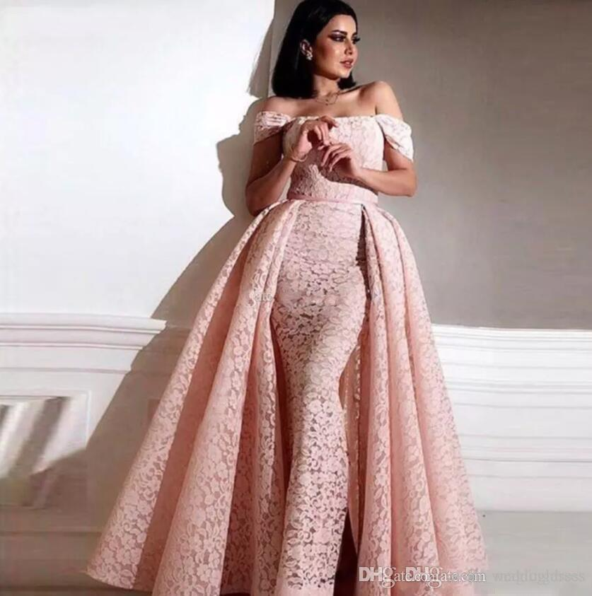 2019 Saudi Arabic Overskirts Prom Dresses Detachable Train Off-shoulder Formal Party Gowns Zipper Back Sheath Full Lace Evening Dress