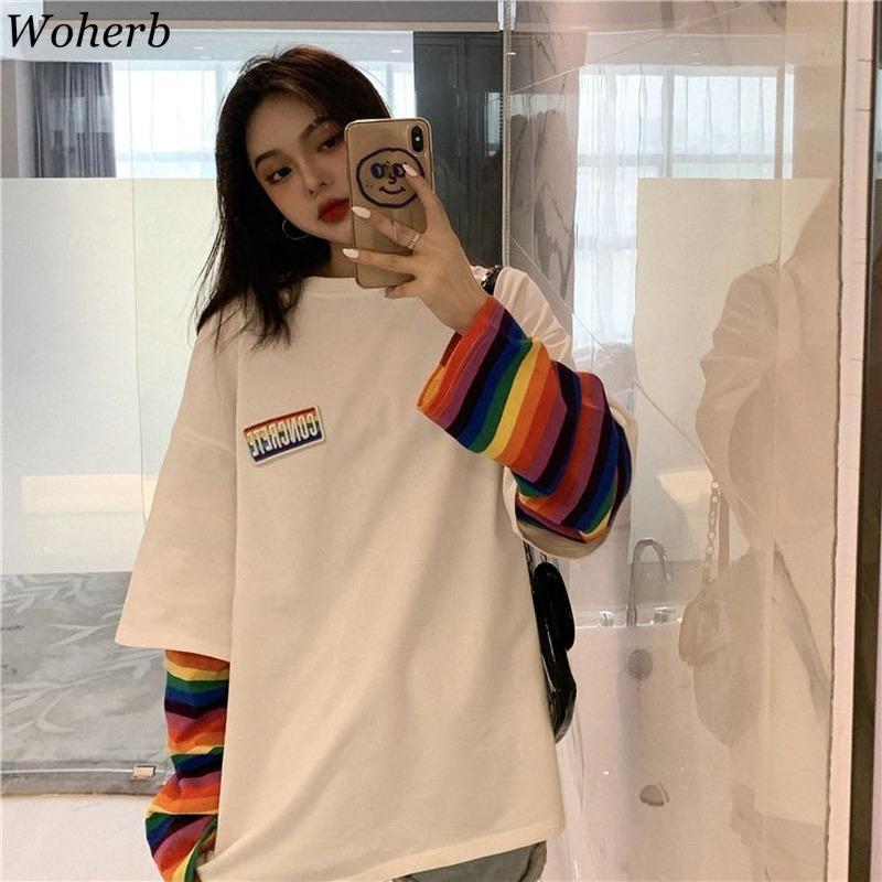 Falso Woherb rayado del arco iris Dos Piezas mujeres de la camiseta floja ocasional de Harajuku BF Tops Mujer de Corea moda de Nueva Streetwear 91296 CY200514