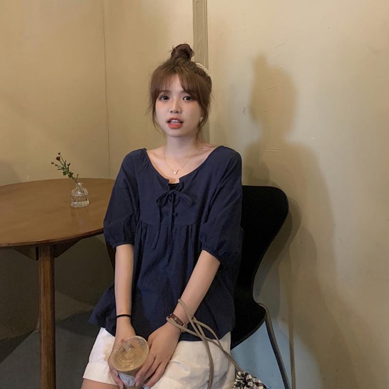 stil 2020 yeni Koreli Yaz gevşek niş zayıflama üst internet gömlek yabancı tarzı gömlek tasarımı kısa kollu popüler kadın moda pZnUB
