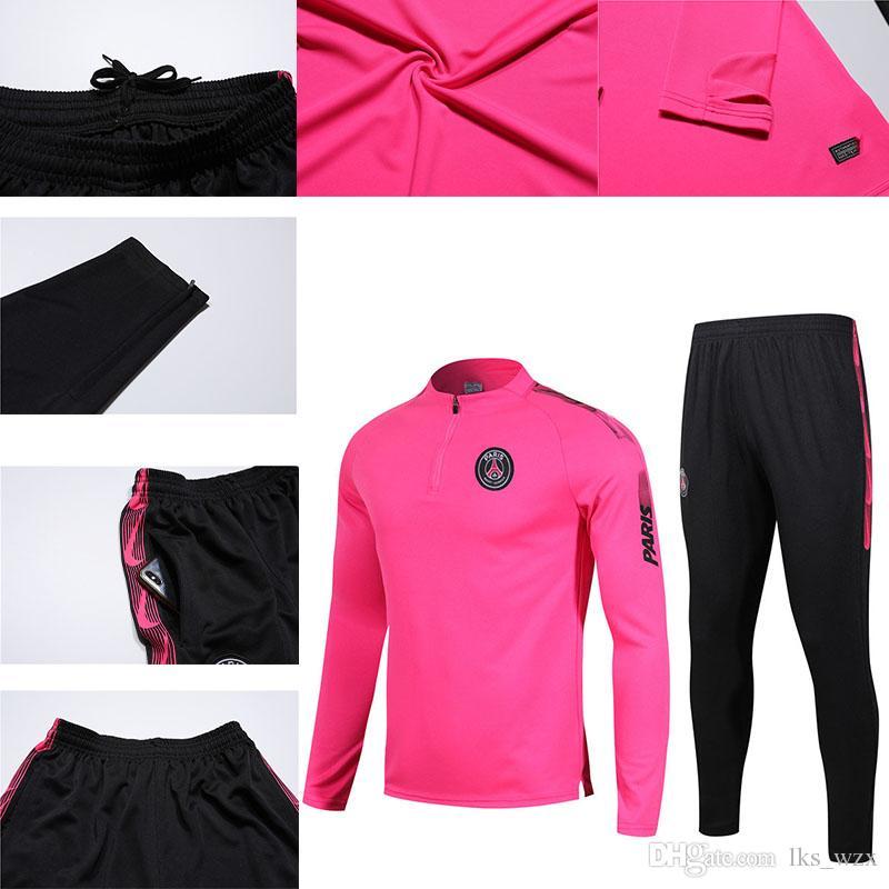 Acquista 19 ~ 20 Nuova Rosa Tuta Da Allenamento Psg Soccer Jersey Tuta Imposta Paris Saint Germain Jor DAM Jogging Kit Adulti Psg Giacca Da Calcio A ...