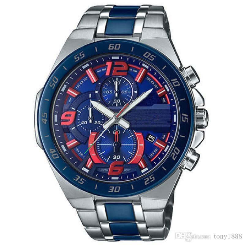 Venta caliente de los hombres superiores de la calidad relojes de moda diseñador movimiento de cuarzo de acero inoxidable reloj de pulsera EFR564 relojes con la caja