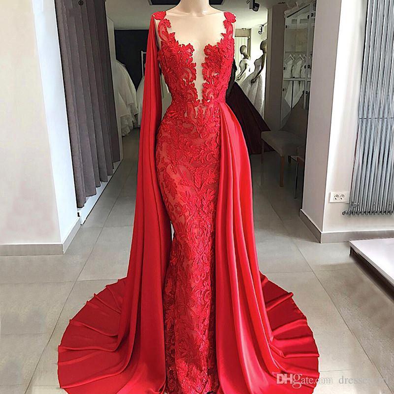 Acheter 2019 Rouge Vif Sirène Dentelle Robes