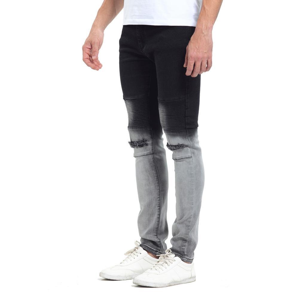 Fashion-Gradatient Color Jeans Mens Stylish Designer Black White Color Patchwork Washed Pencil Pants Jeans