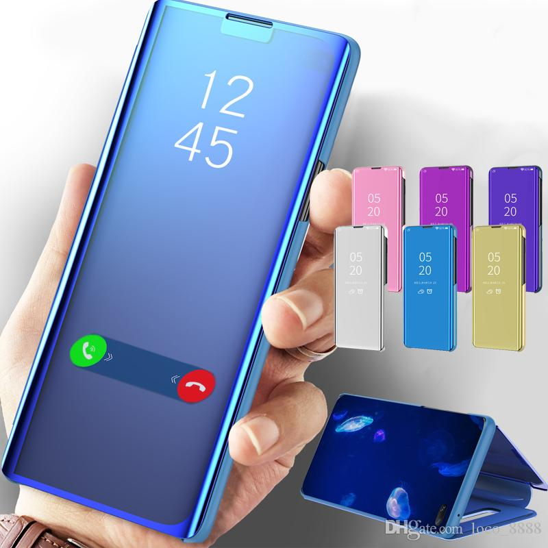 Xiaomi Mi 11 10Pro Lite 10T Redmi에서 맑은보기 전화 케이스를위한 스마트 미러 가죽 케이스 Redmi Note 10 10S 9 8 9T Pro 9A 9C