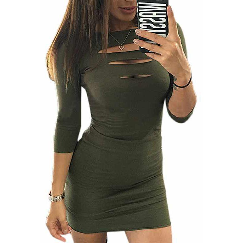 Septhydrogen 브랜드 패션 디자이너 섹시한 슬림 가방 엉덩이 미니 드레스 가슴 개관 7 점 슬리브 드레스를 바닥으로 드레스