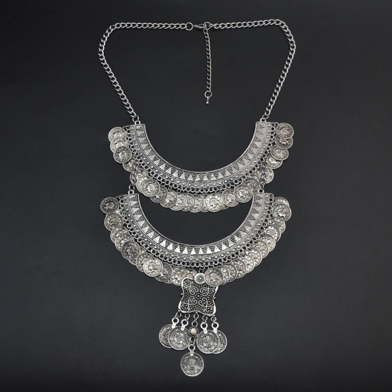 Mode Gypsy Bohème Boho Bijoux en argent Tassel long Carvred Collier de pièces pour les femmes Déclaration Bijoux Bib Collares Bijoux
