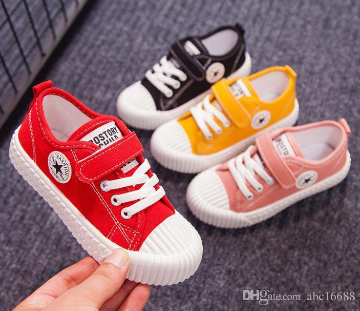 Çocuk Tuval Sneakers Erkek Sneakers için Işık Nefes Kız Rahat Ayakkabılar Bebek Spor Çocuklar Slip-On Beyaz Ayakkabı Toddler Moda