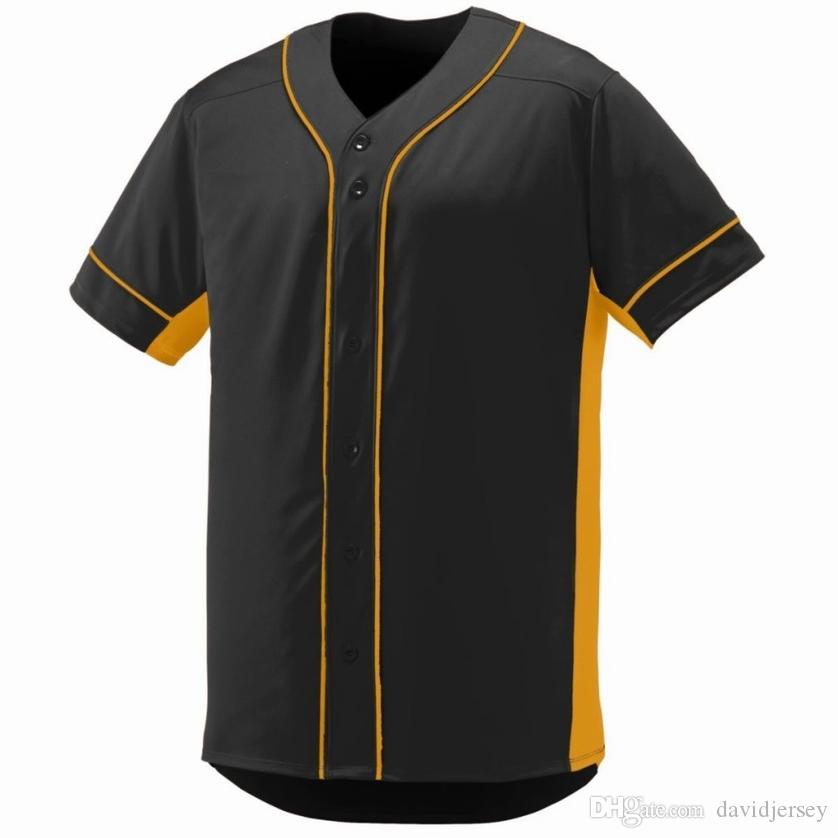 222 6566 Özel Blank Beyzbol Jersey Erkekler Kadınlar Yeni Boyut S-3XL Düğme Aşağı Kazak