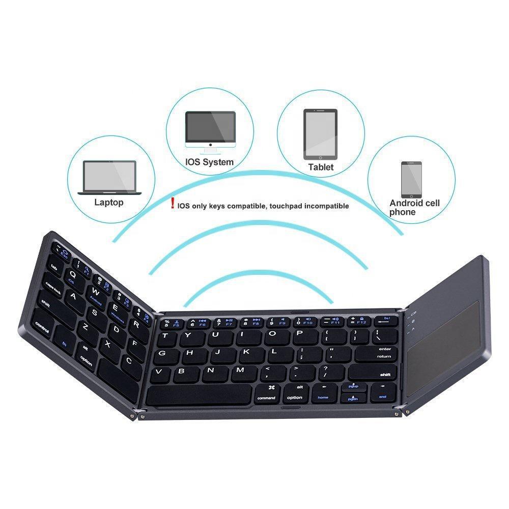 لوحة المفاتيح قابلة للطي الثلاثي صغيرة قابلة للطي BT لاسلكية مع لوحة اللمس لنظام التشغيل Windows الروبوت دائرة الرقابة الداخلية اللوحي سمار