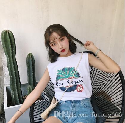 Freie koreanische Version der neuen Frauen des Sommers 2018 der neuen Frauen des Verschiffens 02 des einfachen wilden ärmellosen Hemdes lose dünne Rundhalsweste