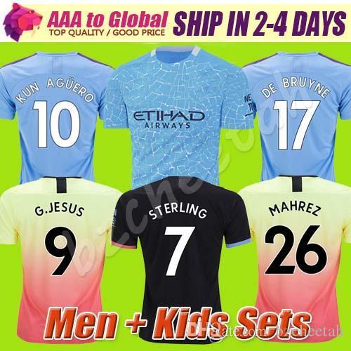 Top stars STERLING DE BRUYNE KUN AGUERO 20 21 man soccer jersey city 2021 SANE jerseys football shirt men kids kit sets uniforms