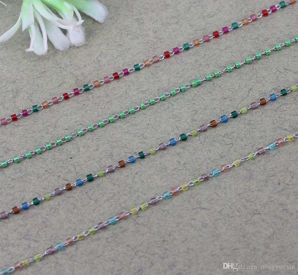 5 Meter Dark Silver Edelstahl Material Multicolor Perlenkette, Draht gewickelt Perlenkette, Rosenkranzkette für Schmuckherstellung