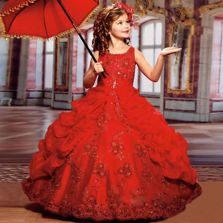 Compre Red De Chicas Vestidos Del Desfile 2019 Vestidos De Bola Glitz Las Muchachas De Flor Vestidos Para La Boda De Tul De Volantes Apliques De