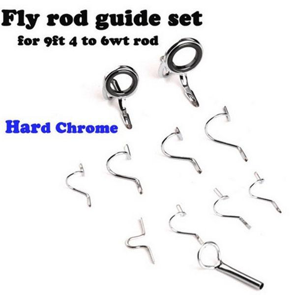 Fly Fishing Guia Rod Sugestão de reparo conjunto kit DIY Eye Anéis tamanho diferente Stainless Steel Frames Fly Rod Guia Set