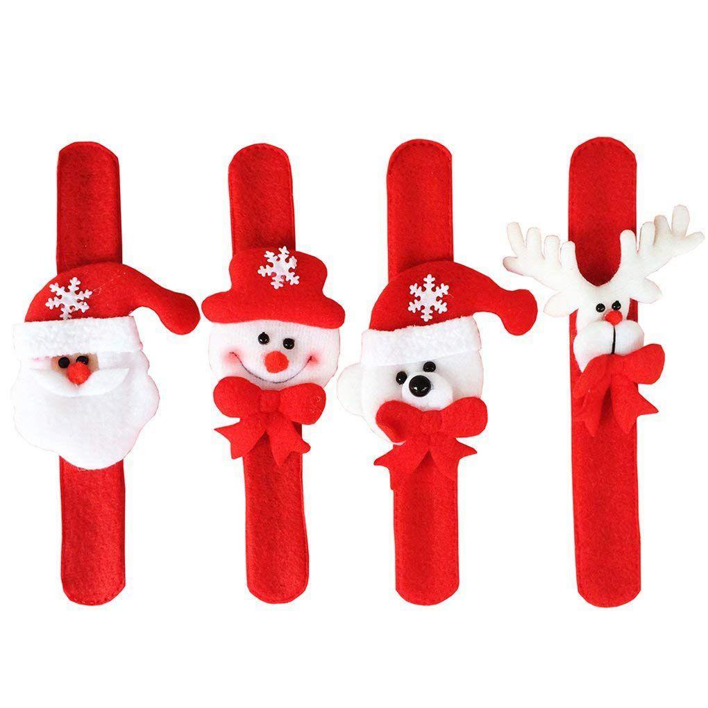 ABFY-4шт Рождество браслет браслет шлепка запястья Bands Xmas Party Благоприятная Сумка Шпатлевки Подарки для детей (4 шт (Санта-Клаус, Snowma