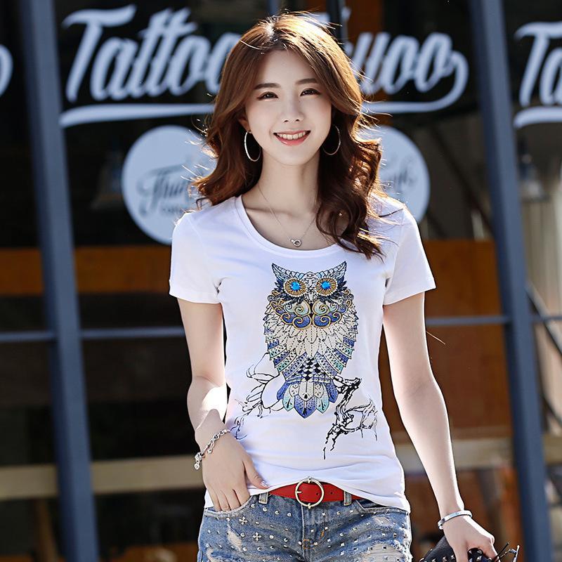 اليابان الصيف NEW أزياء المرأة الطباعة تي شيرت خمر الرباط تيز مطرزة الحيوان طباعة تي شيرت المرأة زائد الحجم لطيف البومة