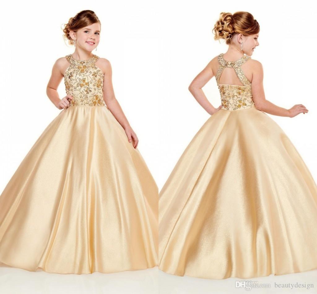 2020 Прекрасные золотые девушки Pageant платья Холтер шеи бисером линия Кристаллы Top Длинные малышей Детские Формальное Пром платья девушки цветка Wear