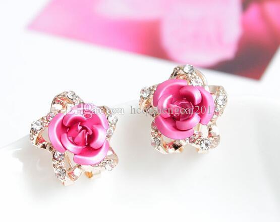 Frete grátis moda nova orelha ornamentos feitos à mão de cinco pontas estrela rosa micro brincos pin moda requintado clássico requintado