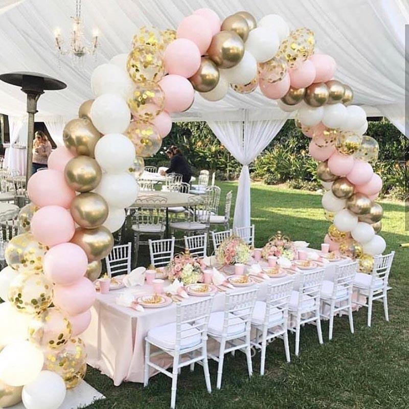 100шт Macaron шары Arch Пастель Белый Розовый Ballon Garland Gold Metal конфетти Globos Свадьба Декор Baby Shower Болл