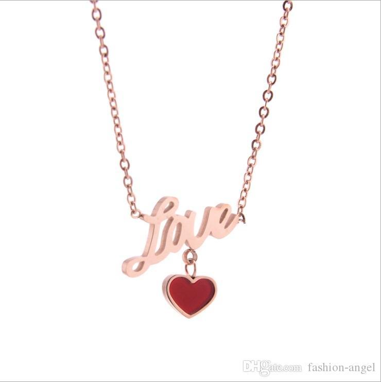 Promosyon karışık sipariş sevgililer günü hediyeleri kadın paslanmaz çelik kolye gül altın kolye arkadaşın doğum günü hediyeleri aşk ve kalp ZX001