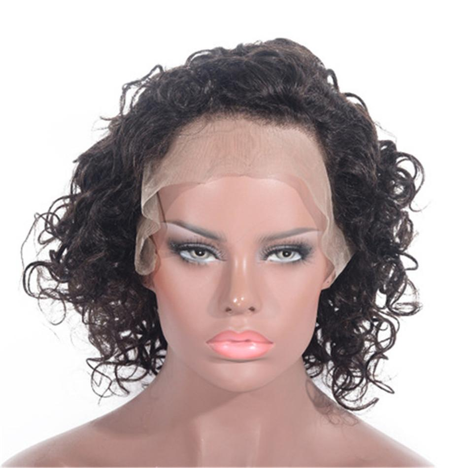 Mongolian Human Hair Curly Wigs Natural Color 130% Density Glueless Lace Front Wig Bleached Knots for Women