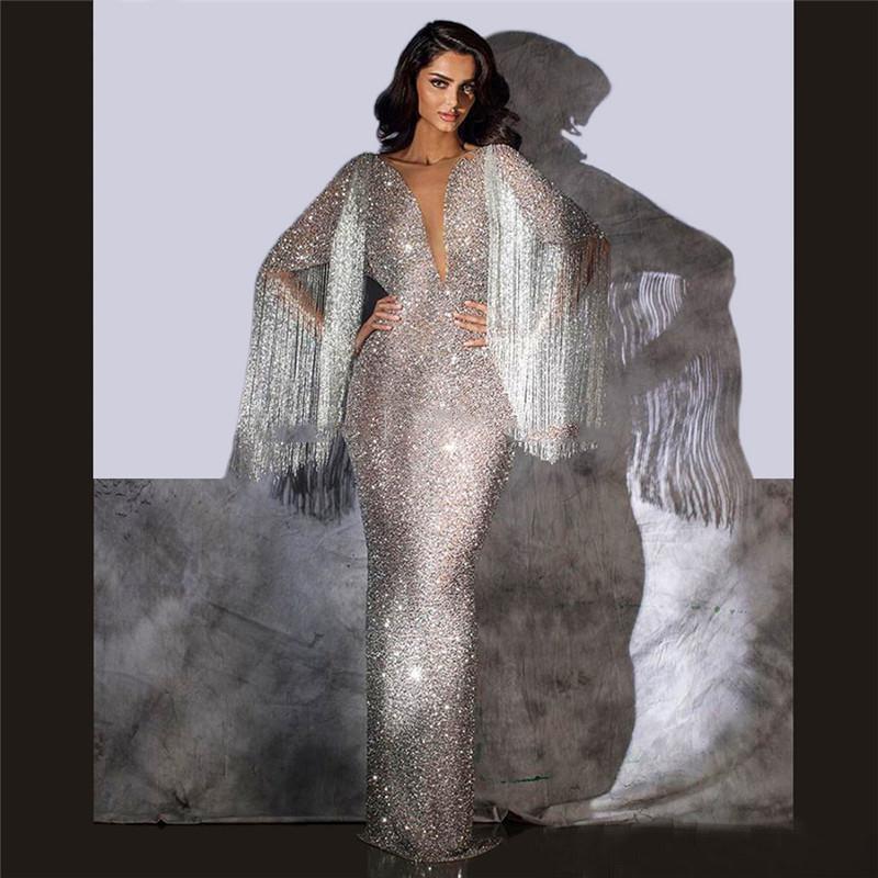 Franja frisada Vestidos Silver Glitter Sequins Pageant Partido Vestido 2019 Robe De Soiree árabe Dubai turco vestido longo Prom