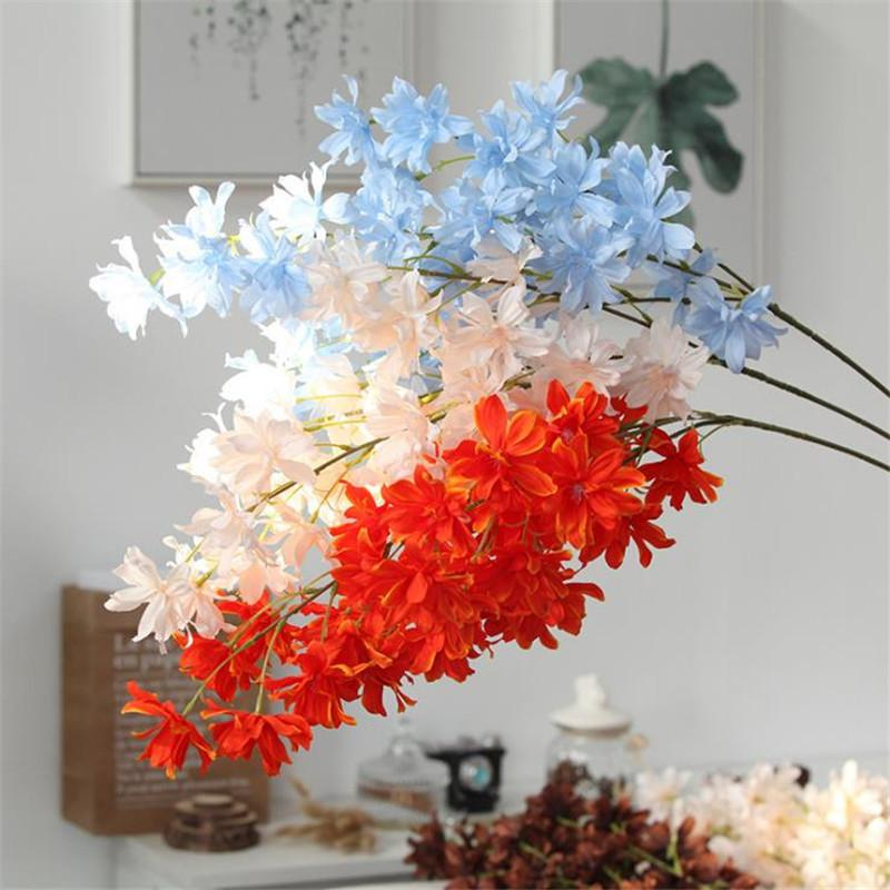 Gefälschte Lange Stamm Oncidium hybridum (3 Stiele / Stück) Simulation Kirsche für Hochzeit Designer-Dekorative künstliche Blumen