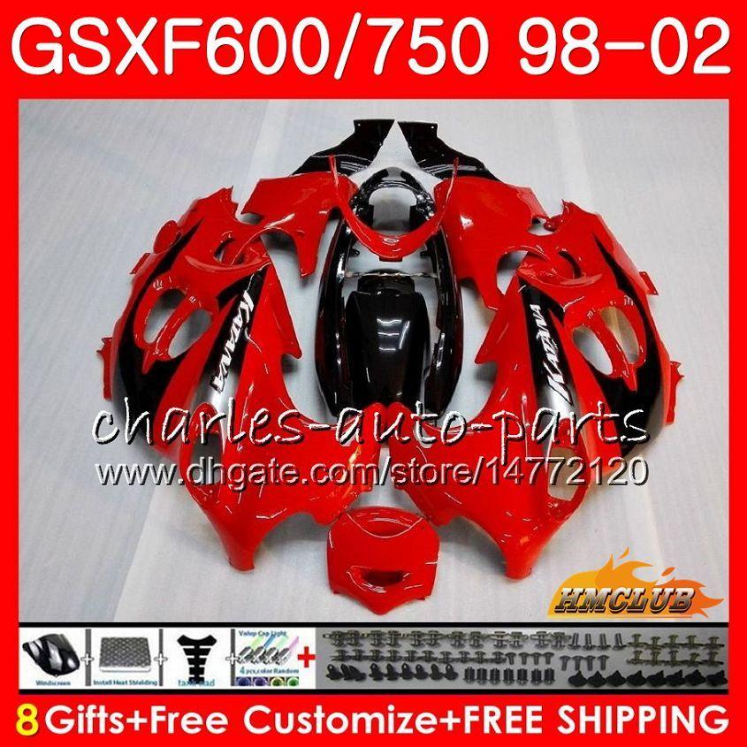 Corps pour Suzuki Katana GSXF 750 600 GSXF600 98 99 00 01 02 2HC.18 GSX750F GSX600F GSXF750 1998 1999 2000 2001 Kit de carénage rouge usine