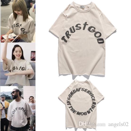 Trend мужских футболки улицы звезда Kanye воскресенье короткого рукав печать ретро качество рыхлого пар футболка высокого мужские короткий TEE