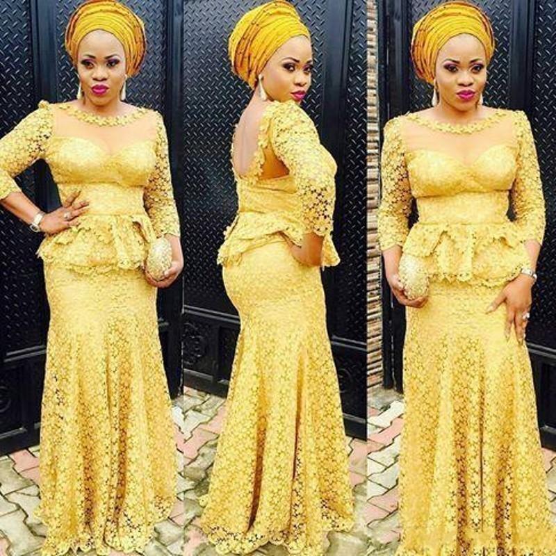 2020 Dentelle Jaune africaine Robes de bal Peplum Aso Ebi style longue Parti Robes de soirée en dentelle à manches longues sirène Appliques Robe