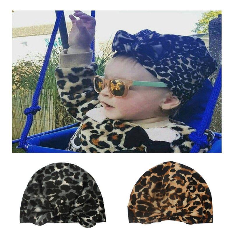 Baby Soft Newborn Baby Girl Boy Leopard Pattern With Bowknot Girls Caps Hat Turban Elastic Cap