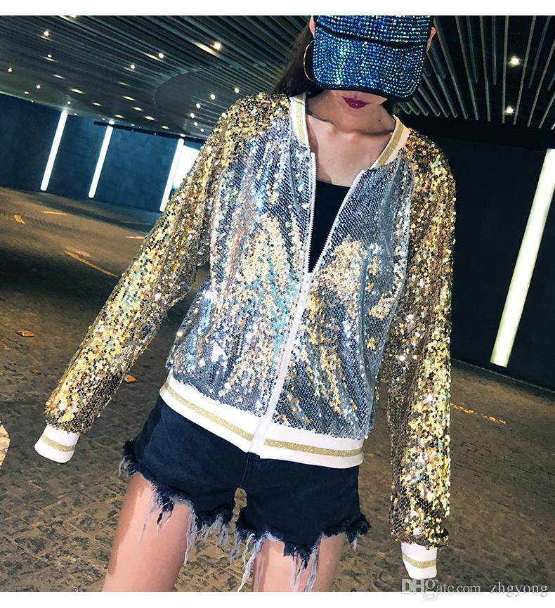 2019 Printemps Femmes Baseball Vestes Or Argenté Paillettes Manteau Court Automne Femelle Bling Sequined Lâche Casual Outwear Zipper Streetwear