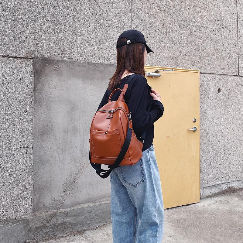 Femme Sac à dos Voyage Casual épaule PU cuir solide Couleur femmes pour les enfants Cartable école de plein air Accessoires