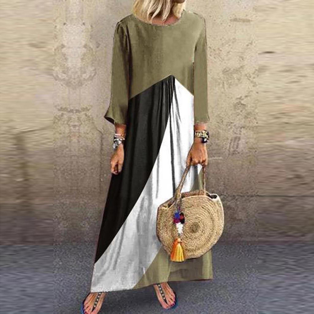 Robe Automne 2019 Femmes De La Mode Impression Bohème Spliced Plus La Taille 2XL Boho Beach Robes Soirée Longue Maxi Dress Vestidos