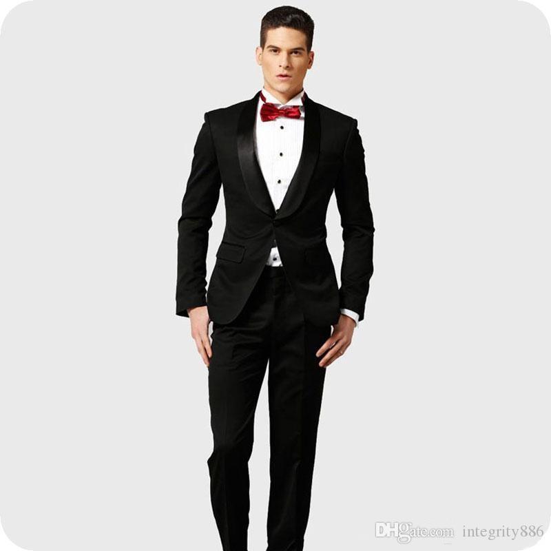 Beaux smokings de marié noir châle revers coupe slim garçons d'honneur mariage smokings hommes de la mode formel blazer veste de costume de costume (veste + pantalon + cravate) 706