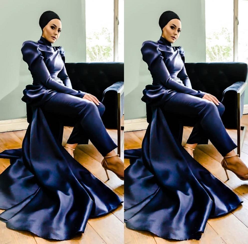 Marinha elegante escuro Pantssuits Vestidos manga comprida Lace Evening Wear Jumpsuit vestidos de noite vestidos robe de soiree Abendkleider