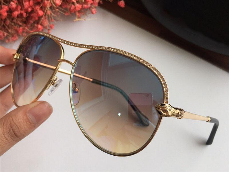 Luxe-Femmes Designer Tête De Serpent Lunettes De Soleil Baroque Style Métal Diamant Lunettes Top Qualité UV400 Protection Lunettes Avec Boîte