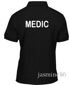 Medic Stampato Polo T shirt Workwear Hospital Medical Health Care Tee Top