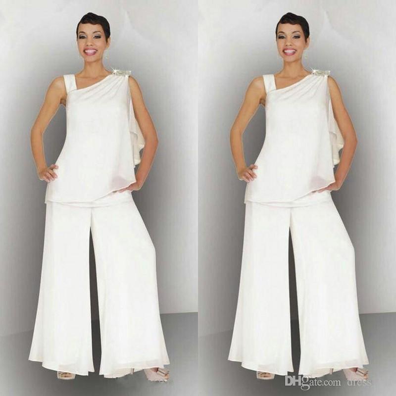 élégant 2020 mère du pantalon en mousseline de soie de mariée costumes pour plage blanc ivoire mariage d'été encolure asymétrique mère des robes de marié