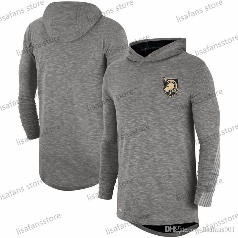 Army Black Knights Heather Grey 2019 Sideline manches longues à capuche Performance Top Tee imprimé couleur Équipe Collège T-shirts Taille S-4XL